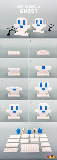 How to build a Lego Duplo ghost for Halloween. Surely this will work with regular Legos. Lego Halloween, Theme Halloween, Happy Halloween, Lego Duplo, Lego Wedo, Lego Projects, Projects For Kids, Wood Projects, Legos