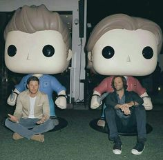 Jensen & Jared with their giant Funko Pops