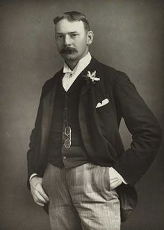 Jerome K. Jerome by William and Daniel Downey. From the National Media Museum. This photograph appears in 'The Cabinet Portrait Gallery' series of celebrity portraits and biographies published in the 1890s. The series includes royalty, actors, academics and authors.