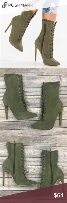 New Steve Madden Satisfied Lace Up Heeled Booties Steve Madden Satisfied Lace Up Heeled Boots in Olive Suede •New without box •Size 6 •Still sold on the Steve Madden Website for $129.95  Check out my other listings- Nike, adidas, Michael Kors, Hunter Boots, Kate Spade, Miss Me, Rock Revival, Coach, Wildfox, Victoria's Secret, PINK, True Religion, Ugg Australia, Free People and more! Steve Madden Shoes Heeled Boots