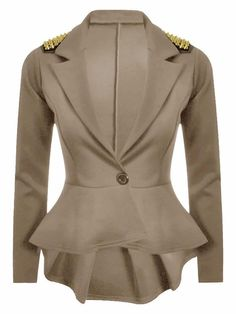WOMEN'S LONG SLEEVES 1 BUTTON SPIKE STUD BLAZER COAT #Unbranded #Blazers #Formal