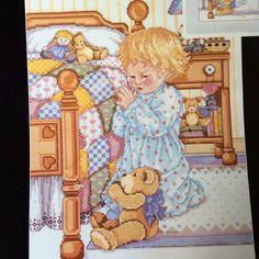 Bedtime Prayer Cross Stitch Kit janlynn Open Complete Praying Child Teddy Bear  #Janlynn