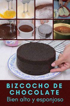 Homemade chocolate cake Very high and fluffy!- Bizcocho de chocolate casero ¡Bien alto y esponjoso! Homemade chocolate cake Very high and fluffy! Sweet Recipes, Cake Recipes, Dessert Recipes, Desserts, Homemade Chocolate, Chocolate Cake, Nutella Recipes, Savoury Cake, Mini Cakes