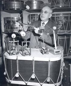 William F. holds one of his first bass drum pedals. Vintage Bass, Vintage Drums, Terry Bozzio, Snare Drum, Bass Drum, Rogers Drums, Ludwig Drums, Drum Pedal, Music Museum