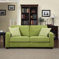 Portfolio Madi Spring Green Velvet Sofa with Apple Green Greek Key Accent Pillow contemporary sofas