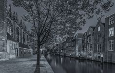Historical Dordrecht in Black and White - Pottenkade and Grote Kerk