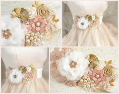 Bridal Sash Wedding Sash in Ivory Blush and Gold with by SolBijou, $230.00