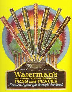 Waerman ripple hard rubber fountain pen and pencil vintage advertisement