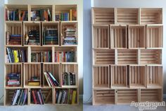 Storage Made Simple: DIY Wooden Crate Bookshelf ApartmentGuidecom easy diy bookshelf - Easy Diy Crafts Wooden Crate Shelves, Diy Wooden Crate, Crate Bookshelf, Wooden Crates, Bookshelf Ideas, Diy Bookcases, Palette Bookshelf, Wall Shelves, Unique Bookshelves