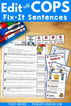 "Editing will be a joy for your 1st, 2nd, 3rd, 4th, 5th, 6th grade, and home school students with Edit Writing with COPS! It is an engaging, effective way for students to remember how to edit their writing! ""Patrol Your Writing with COPS!"" May easily be used for self, peer, or teacher editing. You can post them on your Writing Focus Wall or bulletin board. It's great for expository or essay writing activities. {first, second, third, fourth, fifth, sixth graders, mnemonics} Editing Writing, Writing Lessons, Writing Resources, Teaching Strategies, Teaching Writing, Writing Activities, Essay Writing, Learning Resources, Fun Learning"