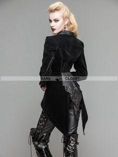 Devil Fashion Black Velvet Gothic Swallow Tail Jacket for Women