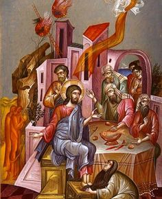 The artwork clearly shows the story of George Kordis, the Anointing of the Lord's Feet at Simon's House, which is also found in the Byzantine scriptures. Religious Images, Religious Icons, Religious Art, Byzantine Icons, Byzantine Art, Holy Week, Catholic Art, Orthodox Icons, Sacred Art