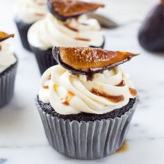 Rich Chocolate Cupcakes topped with Mascarpone Frosting and Cognac-Glazed Figs