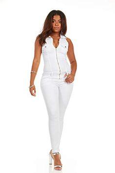 023a104507f V.I.P. JEANS Women s Skinny Sleeveless Zip Up Denim Jumpsuit Romper