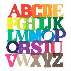 Poster alphabet typographie : Imeus Design, technicolour alphabet - L'Affiche Moderne