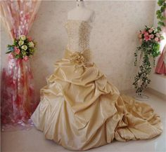 Gold Wedding Dress with Lace Bodice French by WeddingDressFantasy