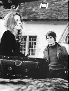 """Françoise Dorléac and Jacques Dutronc on the set of """"Le trésor de l'orpheline"""" for Dim Dam Dom, 1966."""