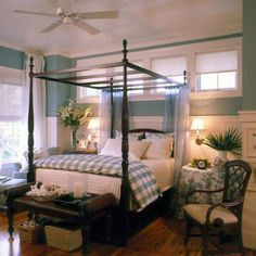 fresh blue and white color scheme for a casual bedroom;   via YourDecoratingHotline,  CoastalLiving, pic by John O'Hagen