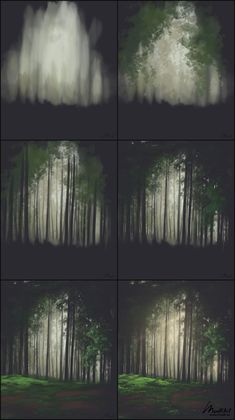 How to paint green lush forest Digital painting of beautiful evening light Color study of natural light and landscapes Green nature sketchbook art illustration Environmen. Digital Painting Tutorials, Acrylic Painting Tutorials, Digital Art Tutorial, Painting Techniques, Art Tutorials, Concept Art Tutorial, Matte Painting, Drawing Tutorials, Art And Illustration