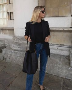 Classy Outfits For Women, Basic Outfits, Casual Outfits, Young Fashion, Look Fashion, Fashion Outfits, Parisienne Chic, Black Blazer Casual, Pijamas Women