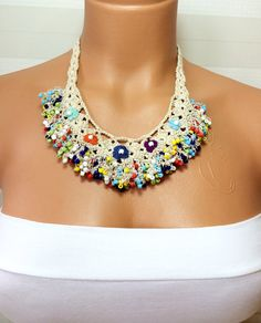 Crochet Beaded Work Strand NecklaceBeaded Handmade by NinnisGift, $32.00