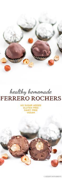 Healthy Homemade Ferrero Rochers! Only 7 ingredients, with a secret or two... [low sugar, high fiber, high protein, gluten free, dairy free, vegan]