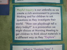 """>>>I like the term """"playful inquiry"""" a lot better than """"play based learning"""" >>>I think I agree! Kindergarten Inquiry, Inquiry Based Learning, Learning Centers, How Does Learning Happen, Early Childhood Quotes, Learning Stories, Teaching Philosophy, Reggio Classroom, Classroom Environment"""