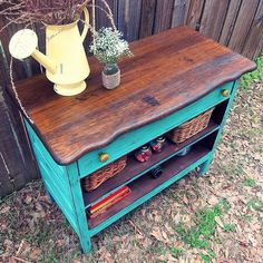 Love the dark wood color with the teal color! Would look great in my kitchen! Recycled dresser into a fun piece, painted furniture, repurposing upcycling Old Furniture, Refurbished Furniture, Repurposed Furniture, Furniture Projects, Furniture Makeover, Painted Furniture, Garden Furniture, Barbie Furniture, Furniture Design