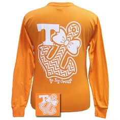 Tennessee Vols Chevron Anchor Bow Girlie Bright Long Sleeves T Shirt | SimplyCuteTees