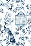 Peacock wall covering, Oiseaux et Fleurs in Porcelain, from Schumacher.