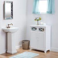 Buy Bathroom Cabinets & Storage Online at Overstock | Our Best Bathroom Furniture Deals Bathroom Linen Cabinet, Bathroom Floor Cabinets, Glass Bathroom, Bathroom Flooring, Bathroom Furniture, Bathroom Storage, Small Bathroom, Bathroom Ideas, Linen Cupboard