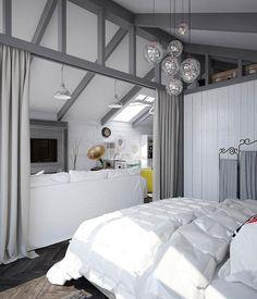 attic bedroom in scandinavian style