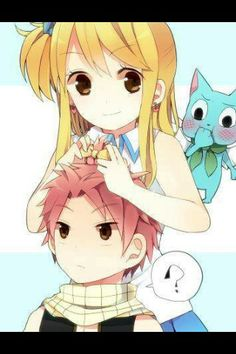 "Oww i like how Happy look at Natsu and i'm sure that he say ""she like you'"