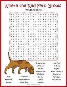 Where the Red Fern Grows lesson or unit supplement: word search puzzle worksheet. Spring Activities, Fun Activities For Kids, Classroom Activities, Book Activities, Puzzles For Kids, Worksheets For Kids, Printable Puzzles, Crossword Puzzles, Printables