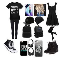 """Wearing black"" by jasminebakmcm ❤ liked on Polyvore featuring River Island, Converse, Vans, Casetify, Red Herring, JanSport and Beats by Dr. Dre"