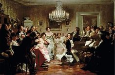 Schubertiade by Moritz von Schwind A Schubertiade was a house concert celebrating the music of the Austrian composer Franz Schubert. Moritz Von Schwind, Romantic Period, Oil Painting Reproductions, Rococo Painting, Concert Hall, Walking In Nature, Western Art, Classical Music, Art History