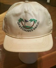 Vintage Okeechobee Golf Country Club Cap Trucker Hat  white sewn fishing florida  Duckster  Trucker 9d9032454cbb
