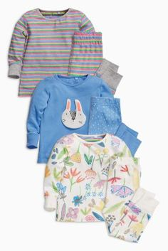 Buy Multi Bunny/Floral Snuggle Pyjamas Three Pack (9mths-8yrs) from the Next UK online shop