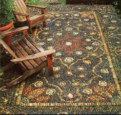 Enchanted carpet ~ pebble mosaic by Jeffrey Bale
