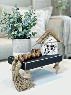 Shabby Chic Mirror, Kitchen Island Decor, Tier Tray, Farmhouse Decor, Farmhouse Style, Decorating Coffee Tables, Tray Decor, Flower Boxes, Fall Decor