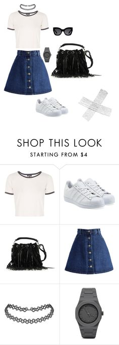 """""""70's/ 90's Relaxed Grunge"""" by jessicakate-x ❤ liked on Polyvore featuring Topshop, adidas Originals, Yves Saint Laurent, Chicwish, CC, Karen Walker, women's clothing, women, female and woman"""