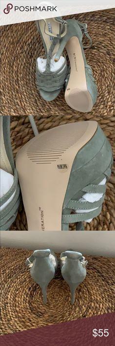 Beautiful sage high heeled shoe Suede heel peep toe never worn BCBGeneration Shoes Platforms Bcbgeneration, Suede Shoes, Platforms, Sage, Peep Toe, High Heels, Best Deals, Closet, Beautiful