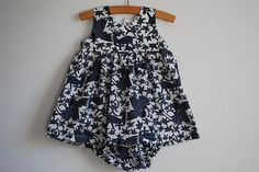 Baby Girl Summer Dress and Bloomers in Navy and White by oKIDDo