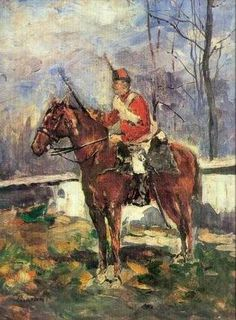 Artwork by Ștefan Luchian - The Mounted Red Hussar, Mary Cassatt, Pierre Auguste Renoir, Camille Pissarro, Post Impressionism, Impressionist Art, Claude Monet, Romania Travel, Art Database, Horse Art