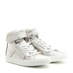 Pierre Hardy - Disco metallic leather high-top sneakers #sneakers #offduty #covetme #Pierre Hardy