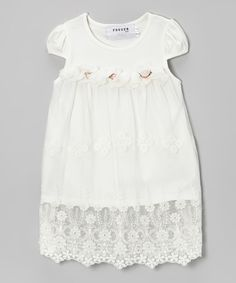 This White Lace Overlay Cap-Sleeve Dress - Toddler & Girls by Fouger for Kids is perfect! #zulilyfinds
