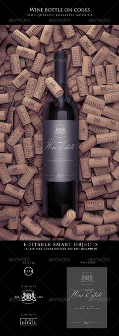 Wine Bottle on Corks Mock-Up #winebottlemockup #mockup Download: http://graphicriver.net/item/wine-bottle-on-corks-mockup/7866895?ref=ksioks