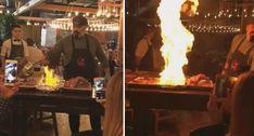 Cozinheiro Brinca Com o Fogo e Espanta Todos Os Clientes Do Restaurante