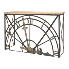 It is time to update your decor with the spectacular Imax Half Clock Console Table . This stunning console table features a metal frame with a watch. Unique Clocks, Wood Doors, Home Accents, Decoration, Console Table, Wrought Iron, Industrial Style, Entryway Tables, Metal
