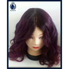 Custome made wig in different shades of burgandy.